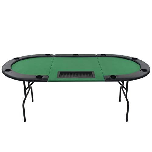 vidaXL Pokertisch 9-Spieler 3-Fach Klappbar Oval Grün Casino Poker Tisch - 3