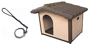 Cuccia per Cani Coibentata Canile Luxo Maxi. Misure Esterne cm 119 x 91 x H 88. in Omaggio Manigliotto in Cuoio a Treccia con Collare Imbottito di Colore Nero