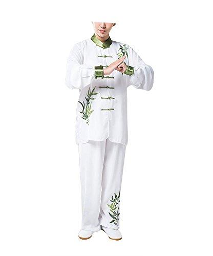 KIKIGOAL Stickender Tai Chi Anzug Uniformen für Morgengymnastik Kung Fu mit Bambusstickerei Baumwolle (XXXL)