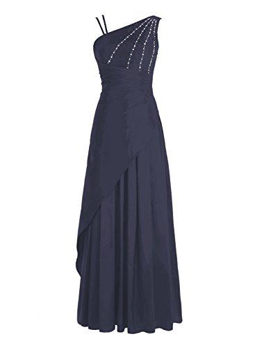 Bbonlinedress Robe de cérémonie Robe de bal emperlée en satin épaule asymétrique longueur ras du sol Marine