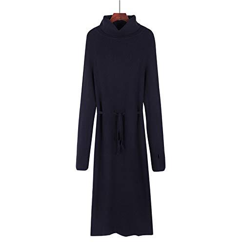 Wuxingqing Vintage Swing Partykleid für Damen Kleid Reine Farbe Kabel Gestrickte Stretchy Pullover Grundlegende Absatz Für Mädchen Frauen Tägliches Leben Einkaufen Damen Abendkleid (Farbe : ()