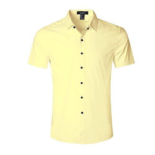 Nutexrol Herren Kurzarm Hemd für Business Hochzeit Freizeit Einfarbig Bügelfrei Gelb XL