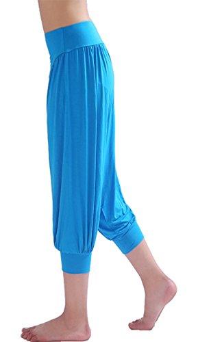 HOEREV® Frauen-Super Soft Modal Spandex Harem Yoga Pilates Capri Hose Schwarz