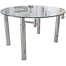Mesa de comedor de cristal templado rectangular extensible a redonda D120cm.
