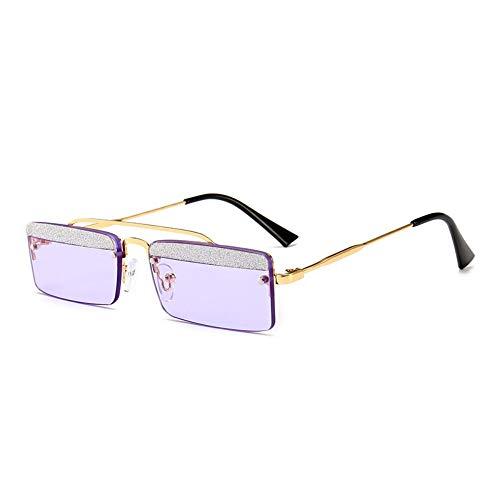 MJDABAOFA Sonnenbrillen,Kleines Quadrat Retro Sonnenbrillen Für Frauen Gold Frame Lila Objektiv Two-Tone Shining Gradient Objektiv Sonnenbrillen Für Männer