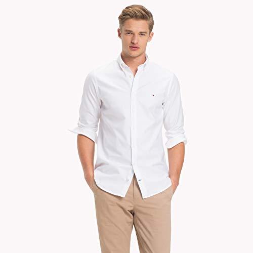 Tommy Hilfiger Herren CORE Stretch Slim Oxford Shirt Freizeithemd, Weiß (Bright White 100), Large