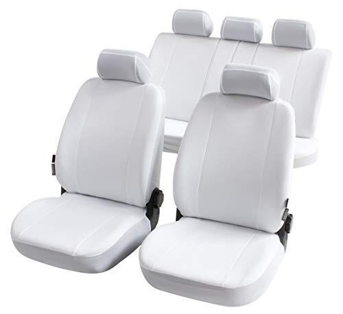 CarComfort Komplett Set Universal Polyester Auto Sitzbezüge Nerja Weiss 8-teilig, 30 Grad waschbar, Rücksitzbankbezug 5-teilig