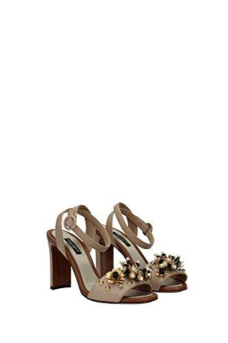 CR0162AD38280703 Dolce&Gabbana Sandale Femme Cuir Beige Beige