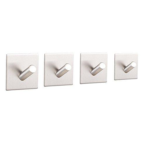 btsky ™ Selbstklebender Haken aus gebürstetem 304er Edelstahl, 3M-Klebestreifen, fürs Badezimmer/WC, für Schränke, Bademantelhaken, Handtuchhaken, 4 Stück