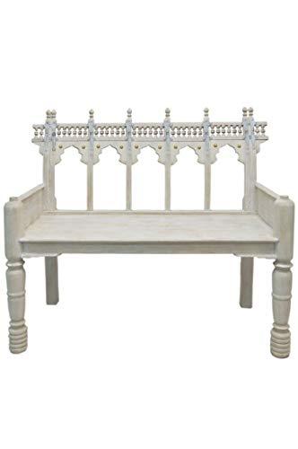 Orientalisches Zweisitzer Lounge Sofa aus Holz Ilisabat weiß 116cm Groß | Orientalische Sitzecke Sitzbank 2 Sitzer Outdoor im Garten oder Balkon | Marokkanisches Design Holzbank Bank...