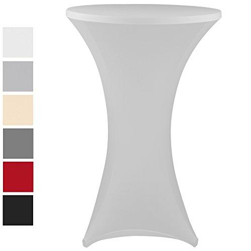 PROHEIM Stehtischhusse Stretch Elastique Elastische Premium Stretchhusse für gängige Bistrotische und Stehtische Dehnbarer Tisch-Überzug mit Ökotex100, Farbe:Weiß, Größe:Ø 60-65 cm