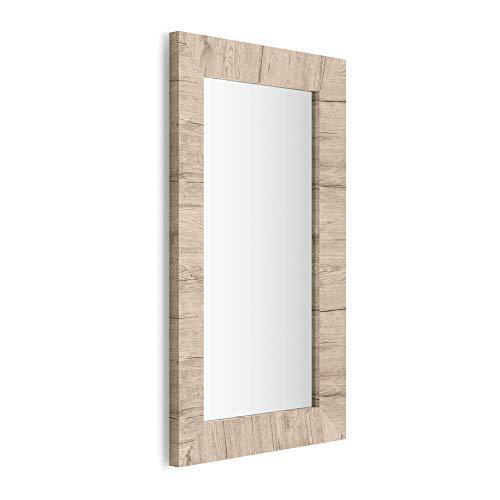 Mobili Fiver, Miroir Mural rectangulaire, Cadre Chêne Naturel, Giuditta 110, 110 x 65 x 3,5 cm, Mélaminé/Verre, Made in Italy