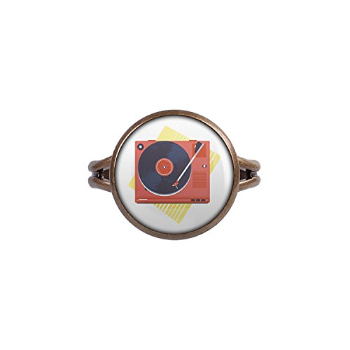 Mylery Ring mit Motiv Vinyl Schall-Platte Platten-Spieler Turn-Table bronze 14mm