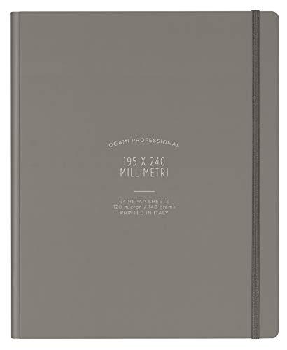 Ogami - Notebook Professional Gray - Notizbuch aus REPAP-Steinpapier mit Hardcover - Farbe grau - weißes Blatt -Format Regular 195 x 240 mm