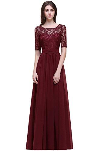 Damen Elegant Spitzen Abendkleid Cocktailkleid Ballkleid Kurz Arm Maxilang Weinrot Gr.32