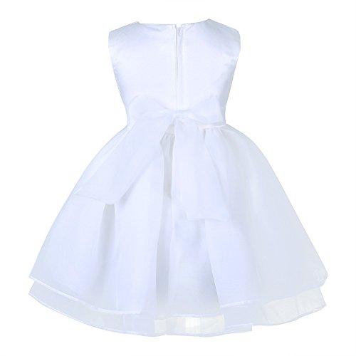 Tiaobug Baby Kleid für Mädchen weiß Taufkleider - baby festliche Kleider für Hochzeit Kommunionkleider 6-24 Monate Weiß 68-74 - 3