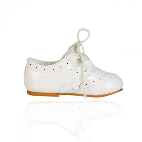 Mädchen Lackleder Schnürschuhe Brautjungfern Party Förmliche Schuhe Baby Größen UK1-UK8 Creme