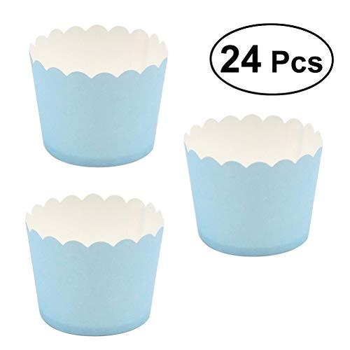 BESTONZON 24 pièces moules à Cupcake Paper Papier Coupe de horneado de Muffin Tasse Papier pour Anniversaire et fêtes 5 x 4.5 cm (Ciel Bleu)