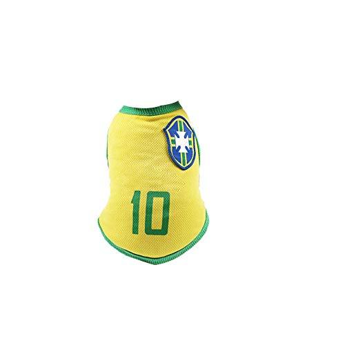 Cmbyn Hund Latzhose Hundeschutzhose Brasilianische Fußball-Team-10 Jersey Hunde Shirts Hundekleidung Pet Westen mit den Ländern vorbereitet für den Sport Fan, Geeignet für Haustiere (Kostüm Aus Verschiedenen Ländern)