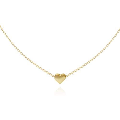 Herzkette Halskette Choker mit Herz Anhänger für Damen in 925 Sterling Silber mit 14K Gold vergoldet, Goldkette für Frauen Modell Heart, Kette klein, Kettchen 35+10cm