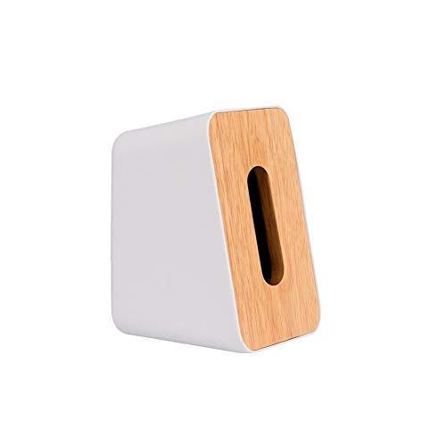 Ruiting Caja de pañuelos de Madera Blanca Estilo Vertical Inicio servilleta dispensador de Papel Organizador de la servilleta de Madera Cuadro Titular