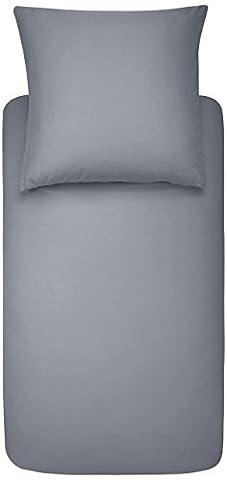 AmazonBasics - Bettwäsche-Set, Mikrofaser, 135 x 200 cm - Dunkelgrau