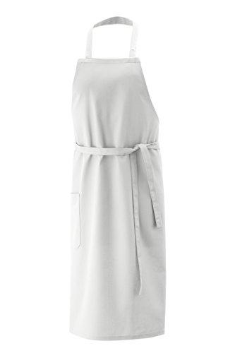 Latzschürze, Schürze 100x80 cm LxB in Weiss aus 100% Baumwolle und per Nackenband 3x verstellbar -