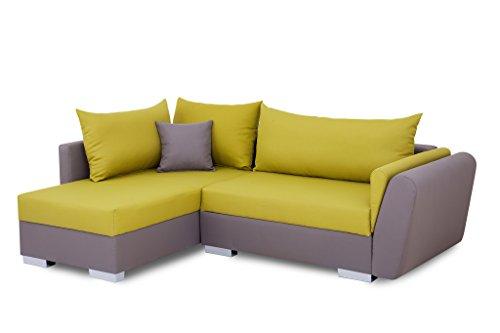 B-famous 100750 Polsterecke mit Bettfunktion und Bettkasten Ecksofa, Stoff, grau/grün, 161 x 224 x 83 cm
