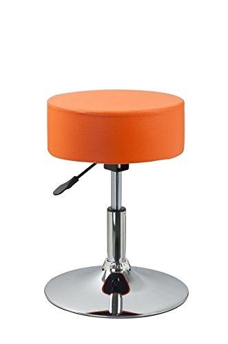 Drehhocker Sitzhocker Orange Hocker RUND höhenverstellbar aus Kunstleder Duhome 0469