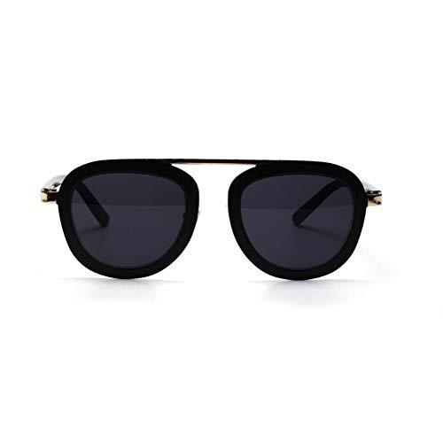 SUNNYJ Sonnenbrille Steampunk Runde Sonnenbrille Damen Herren Wide Black Gold Frame Sonnenbrille Personalitly 26 No.3