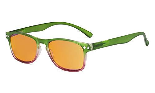 Eyekepper Blaulichtblockierung, Computerbrille mit orangefarbener Gläser für den Nachtgebrauch-UV420-Schutz,Anti-Augenbelastung.Erleichterung Müdes Auge Lesebrille Damen,Grün +1.25