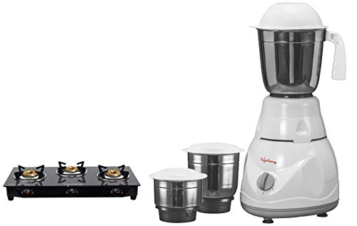 Lifelong Stainless Steel 3 Burner Gas Stove, Black + Power Pro 500-Watt Mixer Grinder with 3 Jars (White/Grey)
