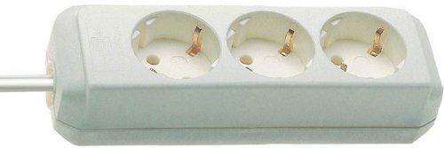 Brennenstuhl Eco-Line 3-fach Steckdosenleiste (Steckerleiste mit Kindersicherung und 1,5 m Kabel) weiß
