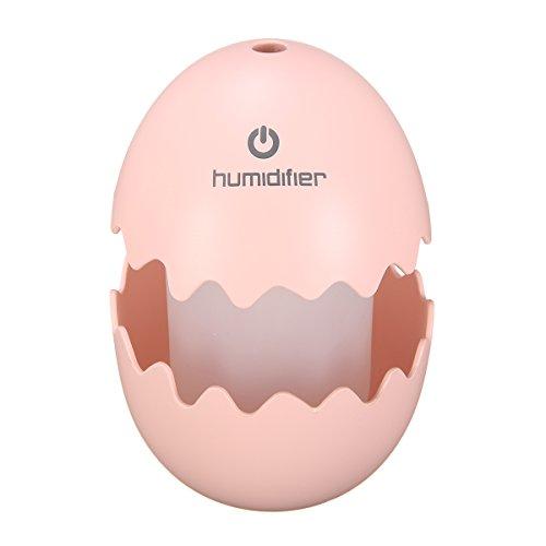 Preisvergleich Produktbild Skymore Ei Raumbefeuchter, Tragbarer Ultraschall Luftbefeuchter, mit LED Nachtlicht für Schlafzimmer/Büro/Auto Rosa