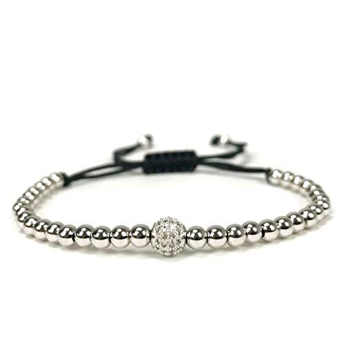 YCWDCS Armband Pulseras Mujer Moda 2017 Perlen Armband6 Mm Weiß Ball Armbänder Für Frauen Pulseira Feminina
