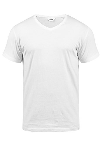 !Solid Bedo Herren T-Shirt Kurzarm Shirt Mit V-Ausschnitt Aus 100% Baumwolle, Größe:L, Farbe:White (0001) -