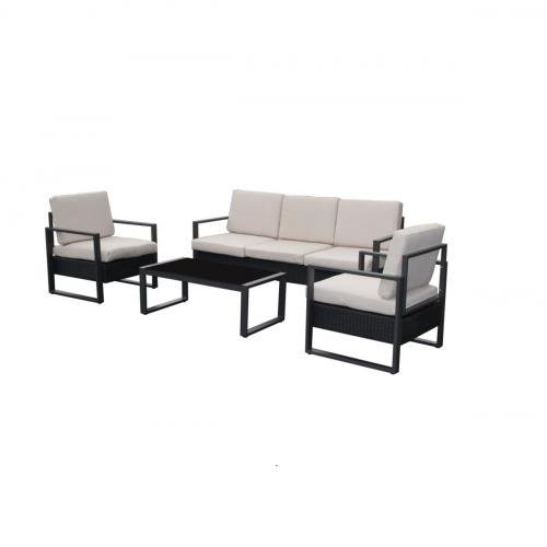 Salon de jardin - Salon de jardin avec 1 canapé 3 places + 2 fauteuils + 1 table basse