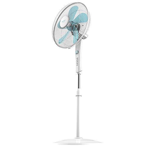 Cecotec Ventilateur sur pied ForceSilence 520 Power White. 5 Pales et 50 W, Moteur en Cuivre, 4...