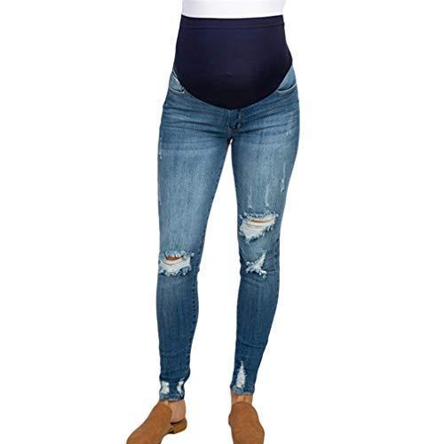 Yunhou jeans premaman pantaloni strappati elasticizzati jeans primavera estate pantaloni premaman pantaloni da leggings con maternità waistband