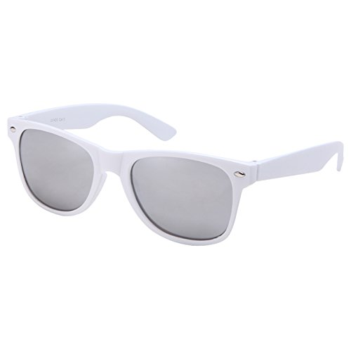 Ciffre EL-Sunprotect® Sonnenbrille Nerdbrille Brille Nerd Silber Voll Verspiegelt Weiß UV400