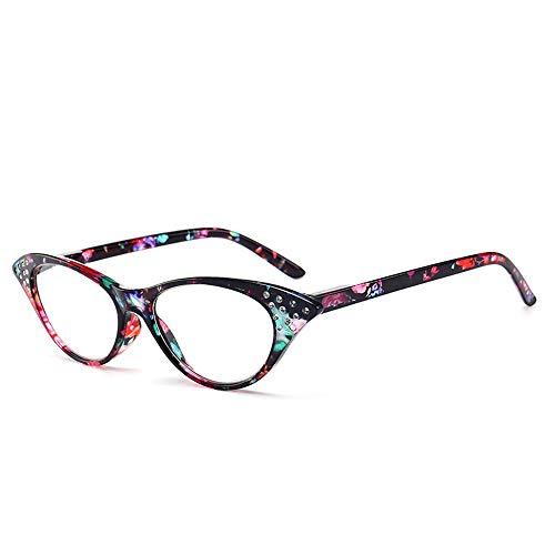 GEMSeven Cat Eye Lesebrille Damen Blumendruck Diamant Brillen Presbyopic Mit Diopter (Damen Lesebrille Cat Eye)