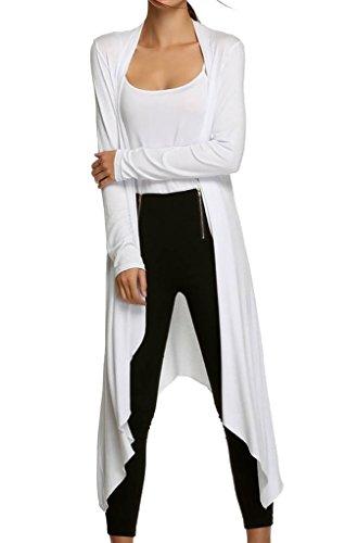 WSLCN Damen Baumwolle lange Strickjacke leicht Cardigan Einfarbig irregular Weiß XL (Weiße Baumwolle Strickjacke)