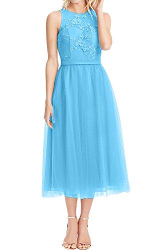 Sunvary Chic Spitze Neu Cocktailkleid Tuell Abschlussballkleider Weiss Partykleider Abendkleider Blau
