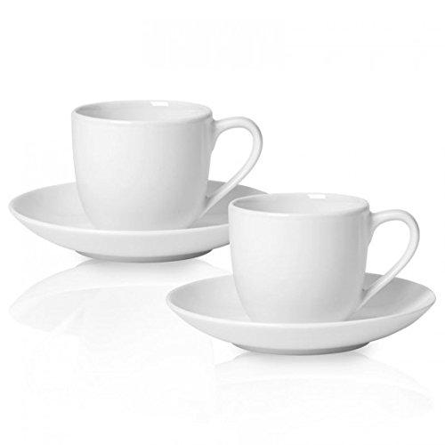 Villeroy & Boch 10-4153-8420 For Me Espresso-Set 2 Personen, Porzellan im puristischen weißen Design, 4-teilig