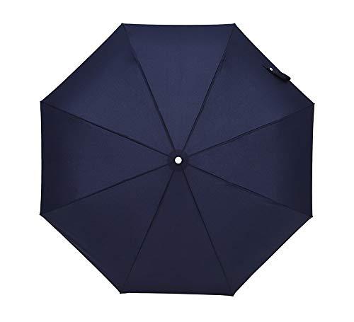 ZTMN Leichter kompakter automatischer Reiseschirm Dreifach-Regenschirm Herren Business-Regenschirm Winddichter Sonnenschirm Automatisch EIN- / ausschalten - Blau - Edelstahl Sie Nach Unten Biegen