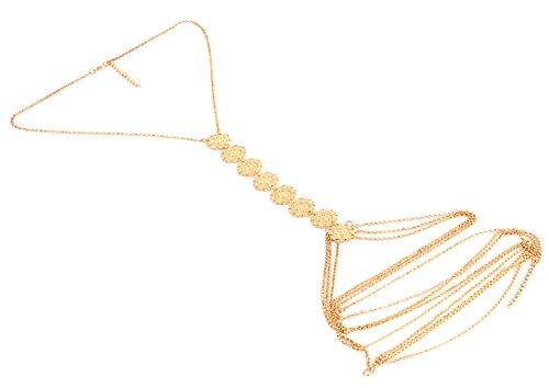 Orientalische Vintage Bauchkette Körperkette Bodykette Kette für Körper Body Bauch mit Schmetterling Perle Amulett Edelstein in Gold-Optik von DesiDo® (Körperkette mit Medaillons) (Rihanna Ausschnitt)