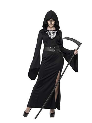 Smiffys 45203L - Damen Sensenfrau Kostüm, Kleid und Gürtel, Größe: 44-46, schwarz (Weiblich Halloween-kostüm Einfach Ideen)