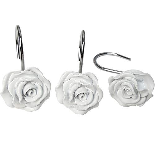 Amayay 12X Harz Rose Blume Duschhaken Vorhanghaken Duschringe Duschvorhangringe Duschvorhanghaken Edelstahl Einfacher Stil Ringe Für Duschvorhang (Dunkel Rosa) (Color : Weiß, Size : Size)