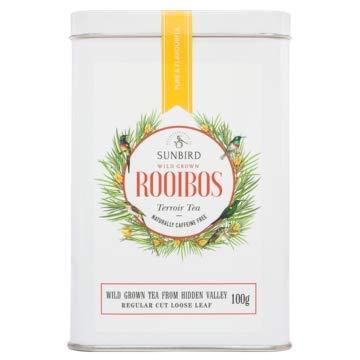 Sunbird Rooibos Hidden Valley Rooibos Sauvage - Nature Vrac Feuilles entières - Riche en antioxydants - Sans caféine - Relaxant - Detoxifiant - Healthy Tea - Boite Alu 100 g