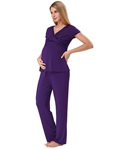 Zexxxy Stillpyjama Damen Stillfunktion Umstands Pyjama Set Baumwolle Kurzarm Schlafanzugoberteile mit Pj Hose Lang (Size M=EU 40-42, Lila) - Baumwolle Pj Set